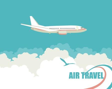 비행기의 이미지와 수직 배너 하늘을 비행