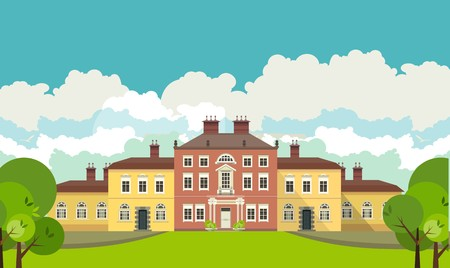 mansion: a large mansion near which is a beautiful park with trees and benches seating area in the countryside Illustration