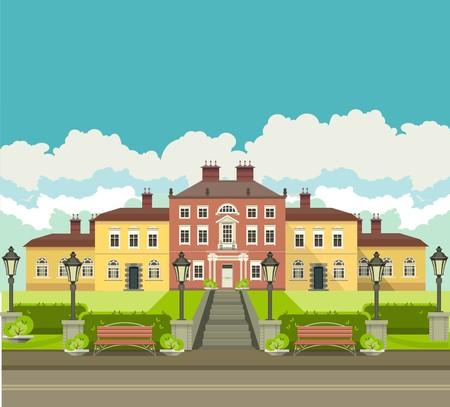a large mansion near which is a beautiful park with trees and benches seating area in the countryside Illustration