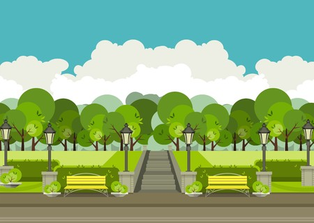 urban area: illustration of urban parks and green recreation area with benches and beautiful nature