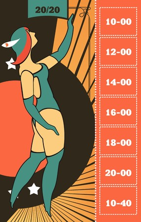 cabaret stage: Circus poster with a circus dancers in costumes standing by the frame for your text Illustration