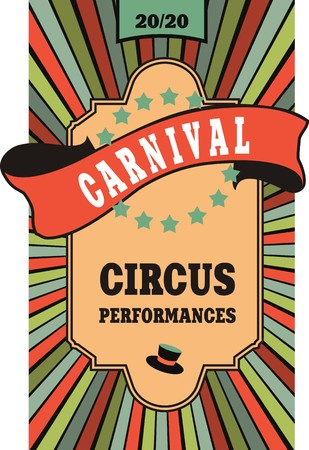 circus poster poster on striped background with ribbon banner carnival Stock Illustratie