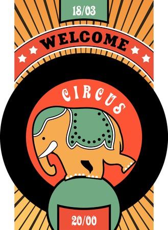 cabaret stage: cartel cartel de circo en fondo rayado circo elefante int�rprete