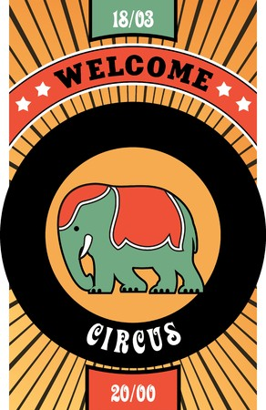 circus performer: circus poster poster on striped background elephant circus performer Illustration