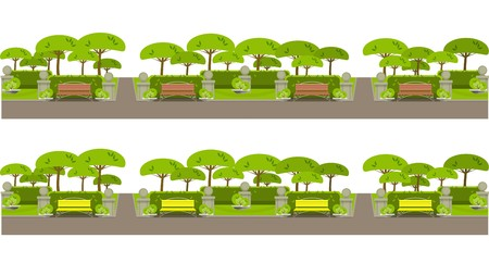 wooden trail sign: city park on the horizontal bar with benches and trees on a white background Illustration