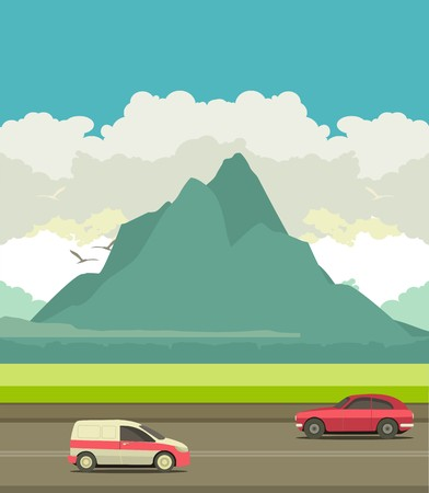 highway: Landscape outside the city, the traffic on the highway in the background mountains Illustration