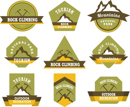 adventures: Set of nine vintage badges on the topic of tourism of different shapes
