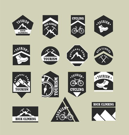 Set of fifteen vintage badges on the topic of tourism of different shapes in black and white colors Vector