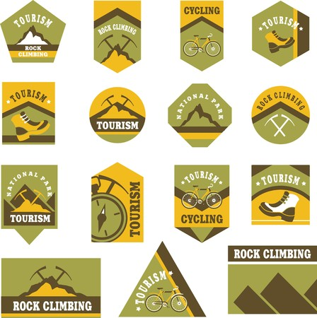 badge logo: Set of fifteen vintage badges on the topic of tourism of different shapes