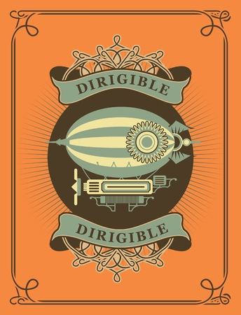 dirigible: Retro poster dirigible letatatelny apparatus in a circle with patterns