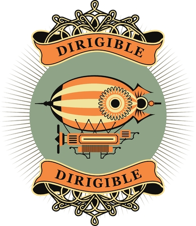 dirigible: Vintage illustration of a retro dirigible with a ribbon and the words on a white background