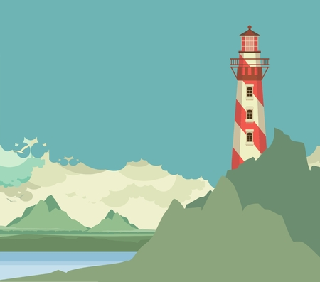 Vertical picture of a lighthouse on the background of sky Stock Illustratie