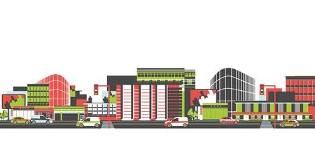 carro caricatura: Ciudad larga calle con la carretera y los vehículos en movimiento vista panorámica