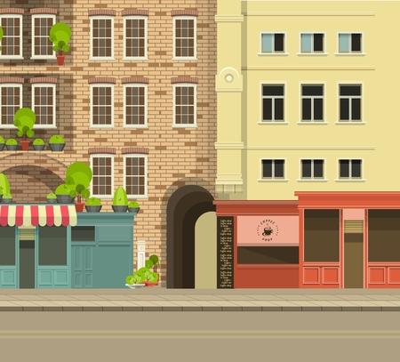 fachada: Calle de la ciudad con edificios altos vistas panorámicas y tiendas en el primer piso