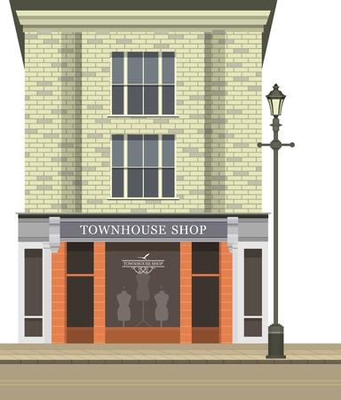 흰색 배경에 다중 스토리 건물 상점 카페의 1 층에 점포 그림