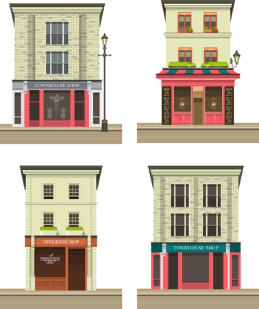 multistory: set Illustration storefront on the ground floor of a multistory building shop cafe on white background