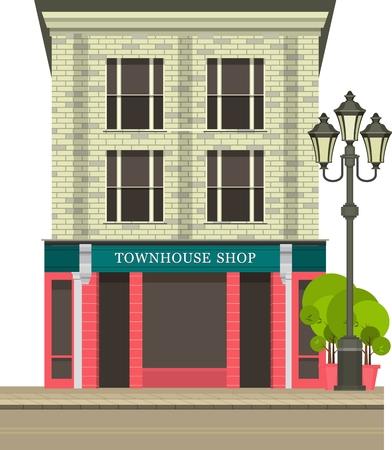 Illustration storefront on the ground floor of a multistory building shop cafe on white background Illustration