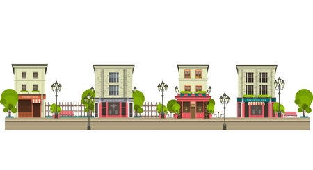 tall buildings: City street with tall buildings panoramic views and shops on the first floor on a white background Illustration