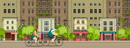 urban street: Group of cyclists riding on the street is proud stylized characters