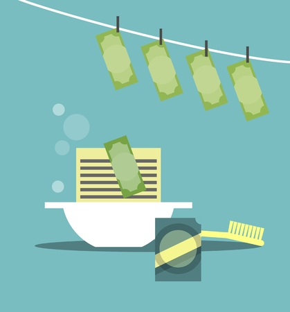 laundering: business concept of money laundering wash powder in the bowl and hang to dry Illustration