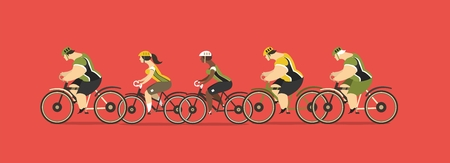 velo: stylized characters group of cyclists, young men and women ride bikes