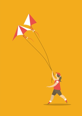 stylized characters girl runs with a rope in his hands in the sky hovering kite poster Vector