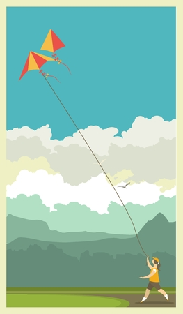 runs: stylized characters girl runs with a rope in his hands in the sky hovering kite poster