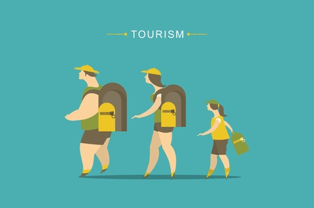 tourism: family tourism, young people and family child with a backpack in a campaign