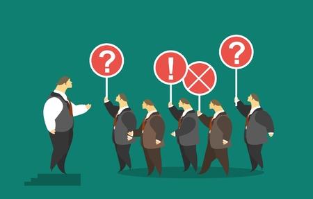 PARLANTE: concepto de negocio multitud de montaje de altavoces de los hombres hacer preguntas y expresar sus opiniones