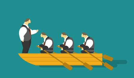 male animal: business concept characters businessmen rowing in a boat on the bow of the boat is worth a leader and looking through a telescope
