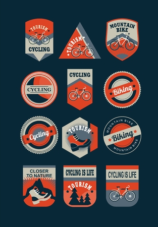 cycling mountain: Set of emblems in retro colors on a theme tourism cycling