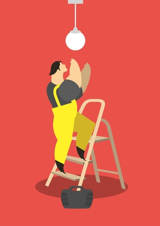 lumen: Adult male electrician working in a suit standing on a ladder and repairs lamp