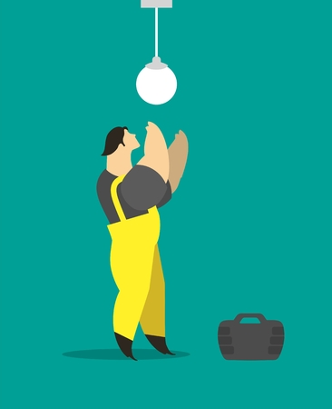 lumen: Adult male electrician working in a suit worth mends lamp Illustration