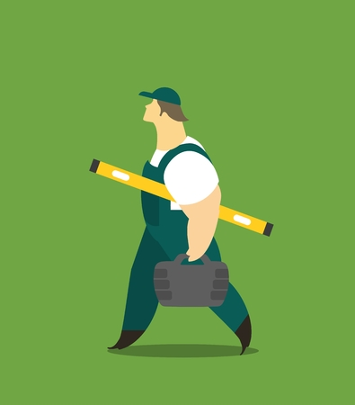 workwear overall: Adult man in a working form at work carries tools and measuring Illustration