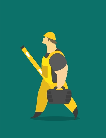 carries: Adult man in a working form at work carries tools and measuring Illustration