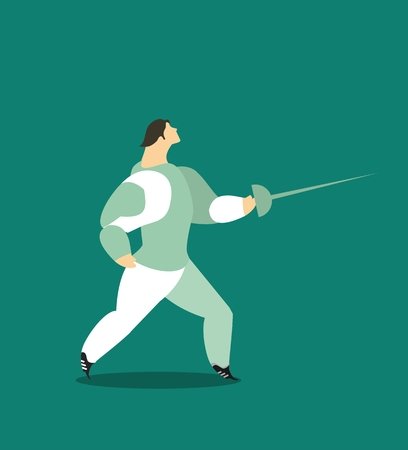 rapier: character athlete fencer in a suit on a blue background with a rapier in his hand