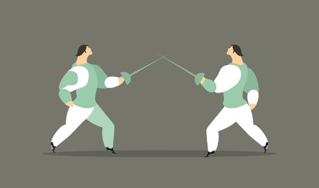 duel: Adult athletes fehtovalischiki a duel with rapiers in suits are fighting