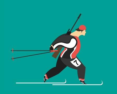 青色の背景に彼の肩の上のライフル スキー バイアスロンを実行しているオスの運動選手