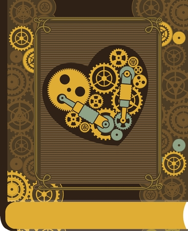 heart gear: mechanical heart inside the gear and various moving parts Serce forced to work on the book cover