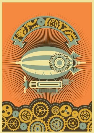 기어와 기계 구성 요소의 배경에 비행선의 사진과 함께 Steampunk 포스터