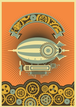 Steampunk poster with a picture of the airship on a background of gears and mechanical components