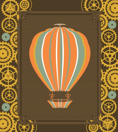 blimp: Hot Air Balloon Steampunk on the poster with the mechanical elements and gear