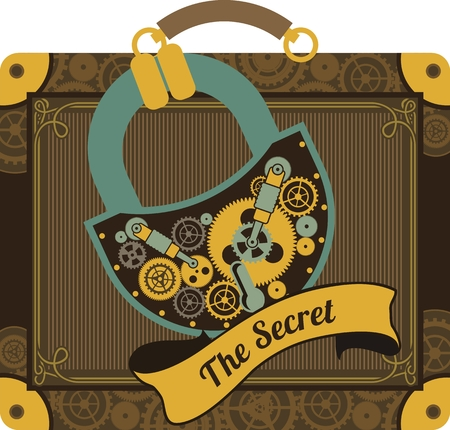 technically: Illustration in the style of steampunk suitcase with large suitcase padlock secret