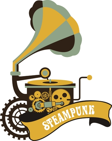 restored: Illustration in the style of steampunk gramophone with gears and mechanisms on a white background