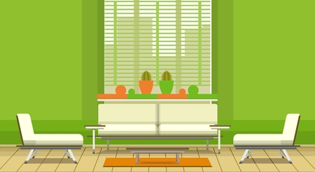 illustrations in the style of flat is living room with sofa and coffee table