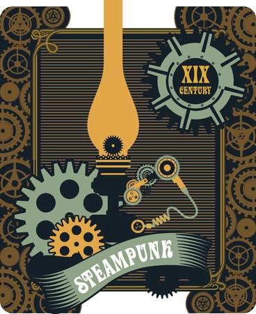 illuminate: illustration Steampunk kerosene lamp to illuminate the mechanism gear and parts Illustration