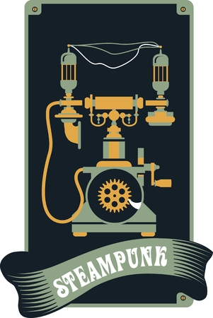 Illustration in the style of steampunk retro phone with the mechanisms and lamps