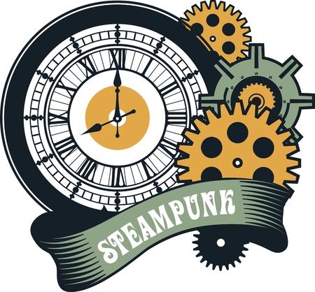 ベクトル スチーム パンク機械時計の部品と白い背景の歯車 ベクターイラストレーション