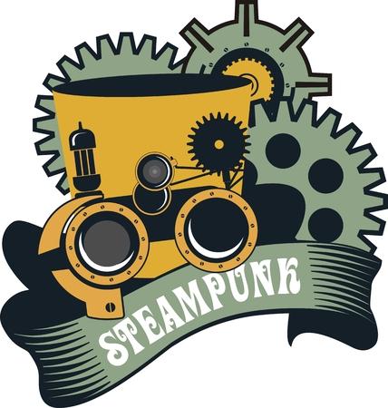 steampunk goggles: ilustraci�n Steampunk sombrero con gafas para el trabajo sobre un fondo blanco