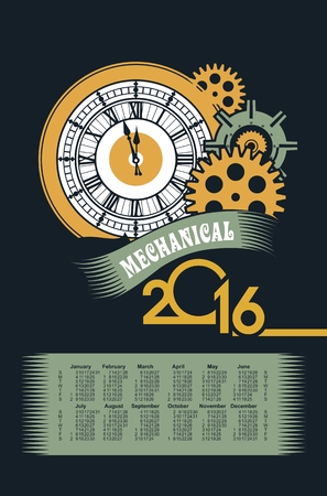 poster with the image of a calendar for 2016 in the style of steampunk